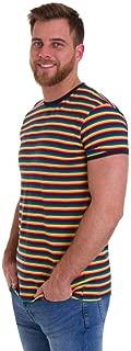 Run & Fly Mens 70s Retro Rainbow Brights Striped T Shirt