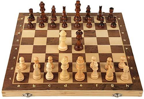 Ajedrez para niños Juego de ajedrez conjunto de ajedrez magnético de madera Colección de tablero de ajedrez plegable con almacenamiento interior Portátil International Board juego Juego de ajedrez Ron