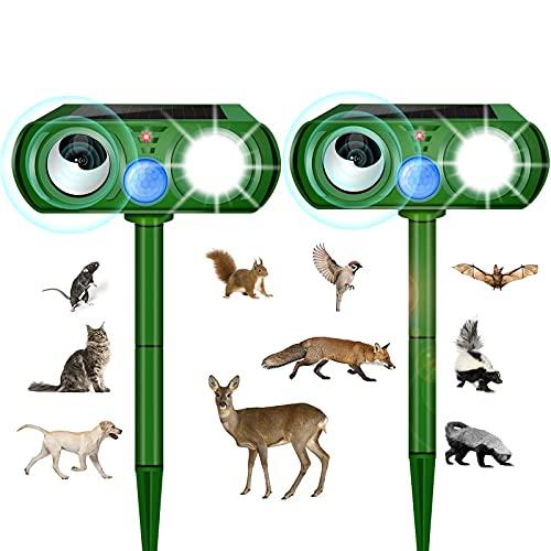 猫よけ ねこよけ 鳥よけ 犬除け 超音波 ソーラー充電 害獣撃退 猫撃退 モグラ撃退 もぐら撃退 ネズミ撃退 猫退治 モグラ退治 猫よけグッズ 動物撃退器 2個セット 糞被害 鳥害対策 LED強力フラッシュライト 赤外線センサー超音波で撃退 庭園/農場/牧