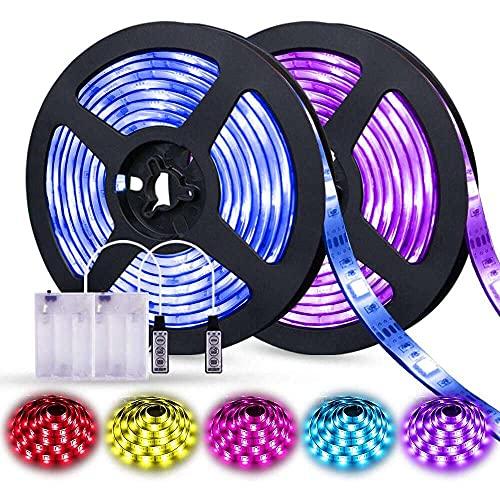 nanxing Luces de tira llevadas con batería,QM-SVR llevó las luces 2M/6.56FT,Luces de tira con pilas 3 llaves
