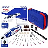 Cordless Rotary Tool, APEXFORGE 8V Power 2.0 Ah Li-ion Battery with 101 Accessories and Shield Attachment, Long Endurance Power- Perfect for Sanding, Grinding, Cutting and Engraving-M8-Blue