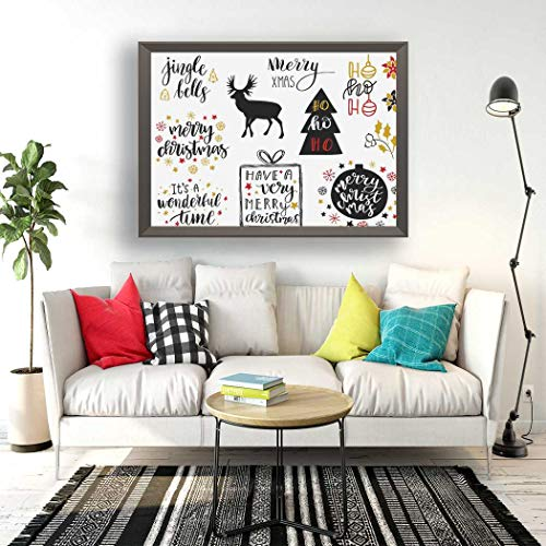 Qoalips Diamond Painting Kits, Christmas and New Year Lettering Collection for Tags Deer Snowflakes Toys Bells Diamond Painting with Tools for Home Wall Decor Full Drill 16x20 Inch