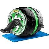 NAKO 腹筋ローラー エクササイズローラー 筋トレ アブホイール 膝マット付き スリムトレーナー トレーニング アシスト機能(緑)