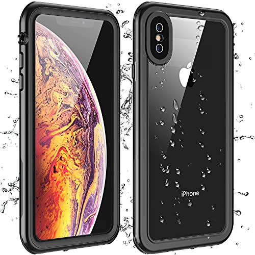 Eonfine for iPhone X Case/iPhone Xs Case Waterproof, Built-in Screen Protector Full-Body Clear Call Quality Heavy Duty Shockproof Cover Case for iPhone X/iPhone Xs (Black/Clear)