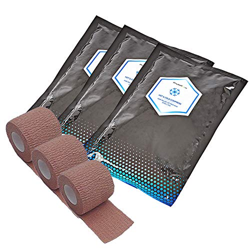 PhysioRoom Verstauchungen & Stämme Reparatur Kompression Kit - Eisbeutel Bandagen – 3x Elastische Bandagen & 3x Eis Packs