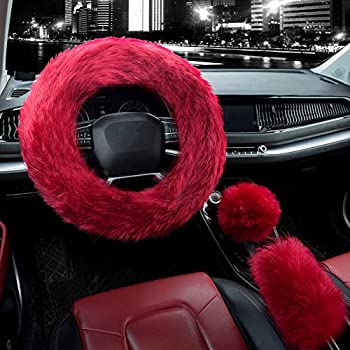 Valleycomfy 3Pcs Fluffy Steering Wheel Cover Set Winter Warm Soft Fur Fuzzy Steering Wheel Covers for Women/Girls 15 Inch Universal  Wine Red