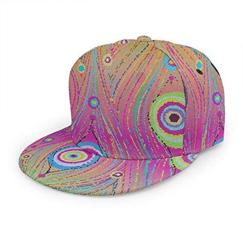 Unisex Flat Baseball Sombreros Colorido Abstracto Cola De Pavo Real Ajustable Snapback 3D Hip-Hop Tapas Para Uso Diario Negro