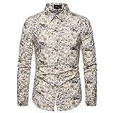 qishi - Camicia a maniche lunghe, motivo floreale, da uomo ML04. L