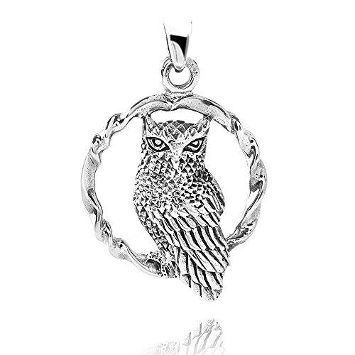MATERIA 925 Silber Kettenanhänger Eule in Ring - Silber Eulen Anhänger Damen Herren antik + rhodiniert #KA-121