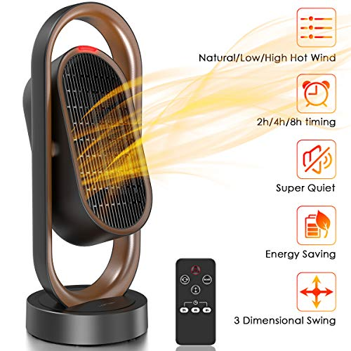Great Features Of LOFTer Space Heater, Electric Heater with Auto Oscillation , Small Desktop Heating...