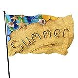 Playa de verano con bandera de estrella de mar 3 x 5 pies Banner decorativo para exteriores Bandera estándar colgante exterior para patio, jardín, césped, vacaciones