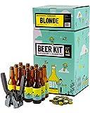 Kit de Brassage Débutant Complet, Je Brasse et j'embouteille 4 litres de bière - Idée Cadeau 100% découverte - Je Brasse à la Maison (Bière Blonde)