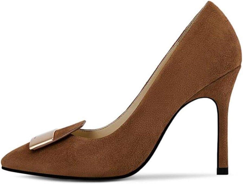 FUTER Pumps Damenschuhe Karamellfarben High Heels Blech Sexy Absatz 10cm Frühling Herbst (Farbe   Caramel Farbe, gre   EU36 UK4 CN36)