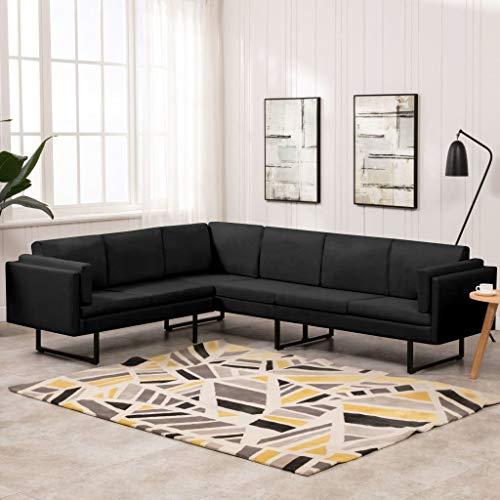 UnfadeMemory Sofá esquinero de tela, sofá tapizado, sofá de salón, sofá de tela, 255 x 199,5 x 62,5 cm, color negro