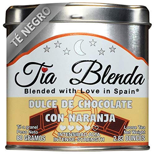 TIA BLENDA - DULCE DE CHOCOLATE CON NARANJA (80 g) - Exquisito TÉ NEGRO Indio Assam BOP con CACAO y NARANJA. Té en hojas. 40 - 50 tazas. Presentación premium en lata. Loose Tea Caddy.