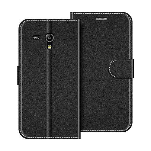 COODIO Handyhülle für Samsung Galaxy S3 Mini Handy Hülle, Samsung Galaxy S3 Mini Hülle Leder Handytasche für Samsung Galaxy S3 Mini Klapphülle Tasche, Schwarz