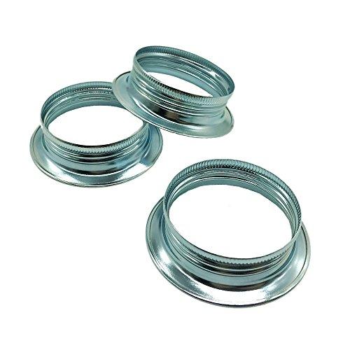 3 Stück Schraubring E27 Metall Chrom für Lampen-Fassung Ring Höhe 15mm für Lampen-Schirm oder Glas-Elemente