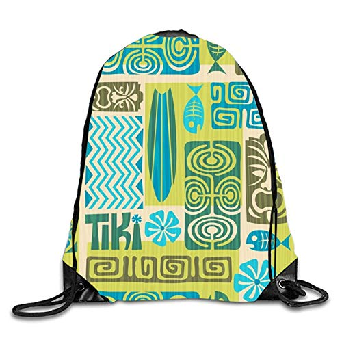 uykjuykj Sacs à Dos,Sacs de Sport,Sacs à Cordon, Colorful Sweet Home Sackpack Drawstring Backpack Waterproof Gymsack Daypack RetroPattern3 Lightweight Unique 17x14 in