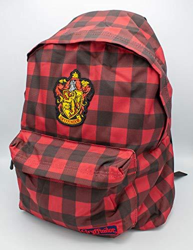 cotton division Harry Potter Zaino Grifondoro a Quadri Vichy Fantasia 34x44x13cm Rosso Nero