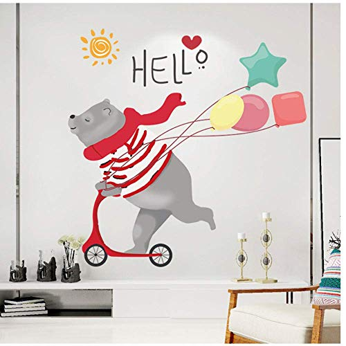 Cartoon Skateboard Bär Ballon Wandaufkleber Kinderzimmer Schlafzimmer Dekoration Diy Abnehmbare Wandbild Niedlichen Tier Aufkleber