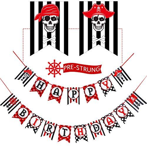 Decoraciones de Fiesta de Pirata, Pancarta de Pirate Happy Birthday para Fiesta de Cumpleaños, Banderines de Fiesta de Vela Náutica a Rayas Negras y Rojas