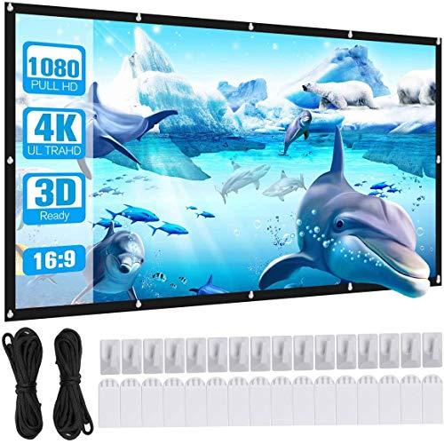 Powerextra Pantalla de Proyector de 100 Pulgadas 16: 9 HD Proyección Portátil Plegable Antiarrugas Pantalla para Cine en Casa Soporte para Interiores y Exteriores Proyección de Doble Cara (100