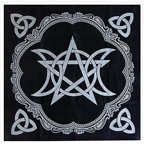 AIMERKUP Tarot Mantel Negro 49x49cm - Pentáculo Tarot Mantel Negro Mantel para Jugar a la astrología Naipes Juego de Mesa Herramientas de adivinación Astrología Tapiz Manta apposite