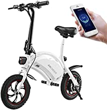 ANCHEER Folding Electric Bicycle E-Bike Scooter 350W Powerful Motor Waterproof Ebike with 15 Mile Range, APP Speed Setting (White)
