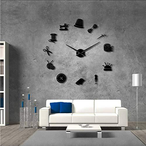Tailor Shop DIY Reloj de Pared Gigante modista Needlecraft costurera maniquí máquina...