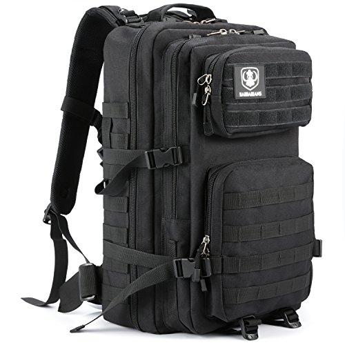 Gonex 30/35L taktischer Rucksack, Molle Tasche Militärischer Assault Rucksack für Outdoor Wandern Camping (Schwarz-35L)