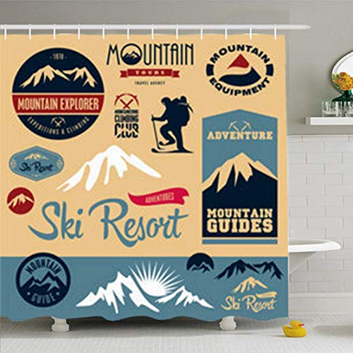 Duschvorhänge/Badvorhänge, Shower Curtains 72 x 72 Inches Black Sport Mountain Climbing Climber Ski Resort Labels Winter Snow Waterproof Fabric for Bathroom Home Decor Set with Hooks