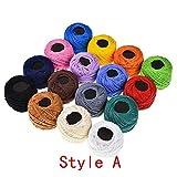 Hilo de Crochet de algodón de 16 Colores para Tejer artesanías, Hilo de algodón de Perlas, para Crochet, Hardanger, Punto de Cruz, Bordado a Mano, Ideal para Principiantes y entusiastas del Ganchillo