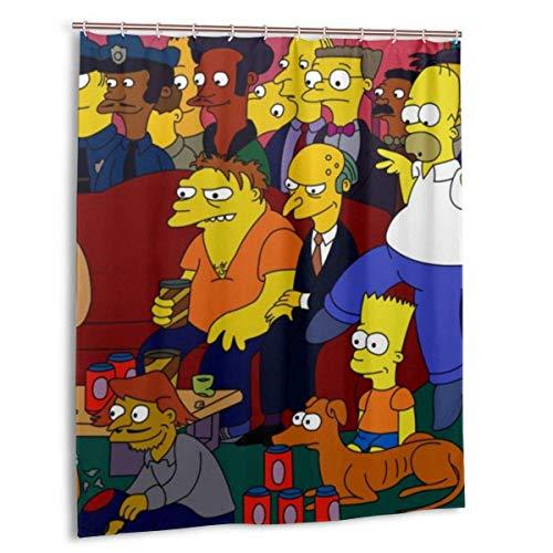 NBHJU Anime Homer Jay Simpson Duschvorhang mit wasserdichtem Duschvorhang aus Polyester gefüttert Duschvorhang aus Stoff 12 Haken 60 x 72 Zoll