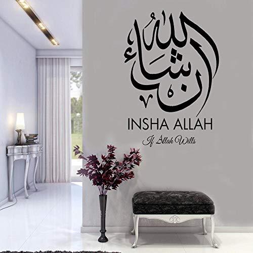 Islamische Wandkunst Aufkleber Sticker Wandbild Islamische Kalligraphie arabischen Stil Schlafzimmer Dekoration 91cmx63cm