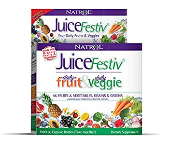 Natrol Juicefestiv Daily Fruits and Veggies Capsules with SelenoExcell for Improved Metabolism Boosts Energy and Well-Being 120 Count