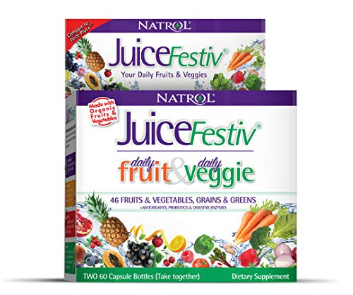 Natrol Juicefestiv Daily Fruits & Veggies Capsules with SelenoExcell® for Improved Metabolism, Boosts Energy and Well-Being, 120ct