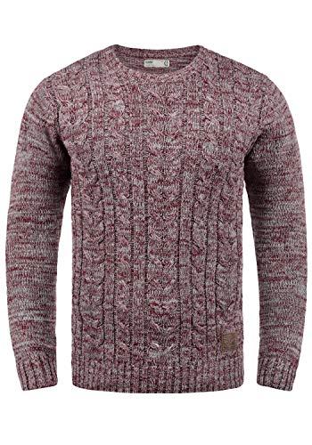!Solid Philemon Jersey De Punto Suéter Sudadera De Punto Grueso para Hombre con Cuello Redondo De 100% algodón, tamaño:XXL, Color:Wine Red Melange (8985)