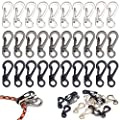 30PCS Mini SF Carabiner Clips Small Spring Snap Hook Tiny Carabiners Buckle Backpack Clasps EDC Keychain for Camping Bottle Using Accessories Paracod Tactical Survival Gear (3 Colors)