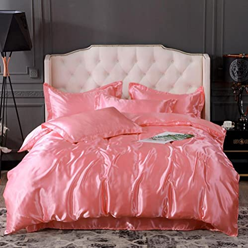 Bedding-LZ Juego de Funda nórdica 90,Ropa de Cama de Color de Cuatro Piezas de Seda de Color sólido de Verano-Di_Cama de 2.0m (4 Piezas)