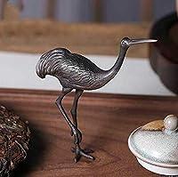 鶴 茶刀 茶針 茶寵 銅器 銅製品 開運風水 置物 工芸品 装飾品 禅の意 2点セット アンティーク 骨董品