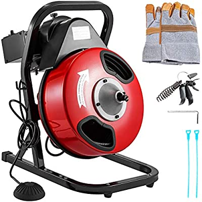 Mophorn 50Ft x 1/2Inch Drain Cleaner Machine fit 1 Inch (25mm) to 4 Inch(100mm) Pipes 250W Drain Cleaning Machine Portable Electric Drain Auger with Cutters Glove Sewer Snake Plumbing Tool