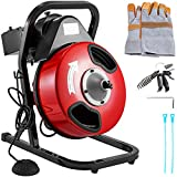 VEVOR 50 Feet by 1/2 Inch Electric Drain Auger with 4 Cutter & Foot Switch Drain Cleaner Machine...