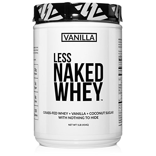 Less Naked Whey Vanilla Protein 1LB – All Natural Grass Fed Whey Protein Powder + Vanilla + Coconut Sugar- GMO-Free, Soy Free, Gluten Free. Aid Muscle Growth & Recovery - 12 Servings…