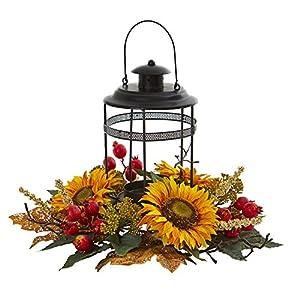 Silk Flower Arrangements Nearly Natural Sunflower Berry Artificial Candelabrum Silk Arrangements, Yellow