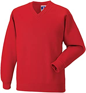 Russell Workwear V Neck Sweatshirt : Color - Bright Red : Size - L