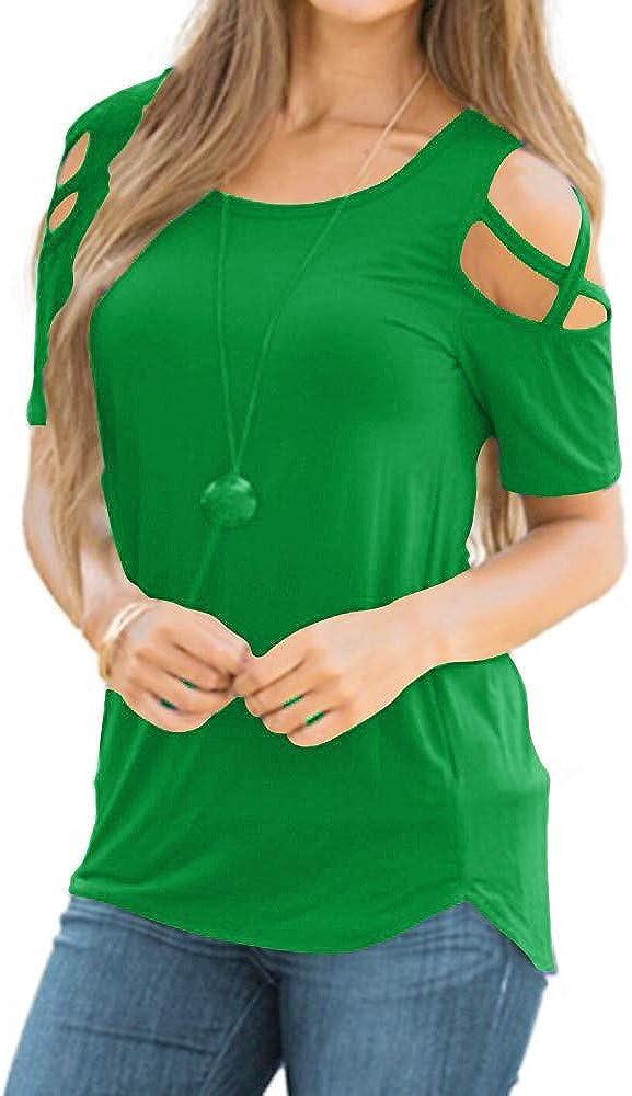 Plus Size Tops for Women, Floral Print Casual Cold Shoulder Lace Shoulder Strap Short Sleeve Blouse T-Shirt Top for Women