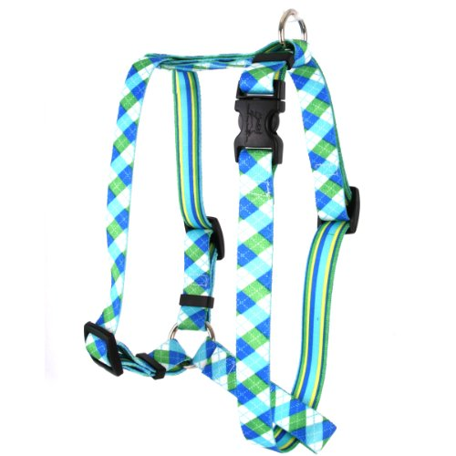 Yellow Dog Design Blue and Green Argyle Roman Style H Dog Harness, Large
