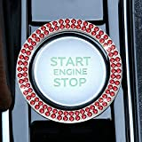 LivTee 1 PCS Crystal Double Rhinestone Car Engine Start Stop Decoration Ring, Bling car Accessories, Push to Start Button, Key Ignition & Knob Bling Ring, Red