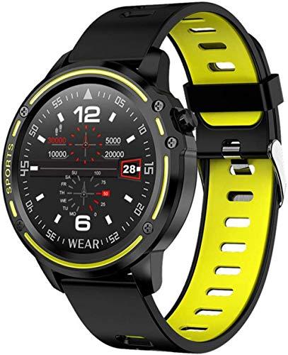 TIANYOU Smart Watch, Smart Watch Men Ip68 Reloj Inteligente a Prueba de Agua Presión Arterial Ratio Cardíaco Fitness Fitness Fácil de Usar-Amarillo Exquisito/Amarillo
