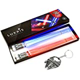 Lightsaber Light up LED Chopsticks Multi function for Star Wars Theme Party Fun Gift Set [2 PAIR - RED AND BLUE SET]